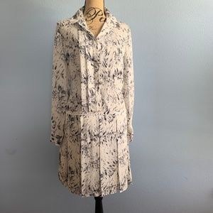 Haute Hippie Silk Floral Feather Drop Waist Dress